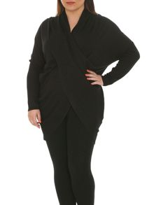Plus Size Oversized Wrap Front Top
