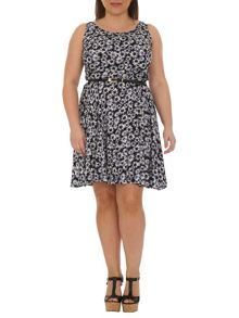 Plus Size Belted Floral Print Dress