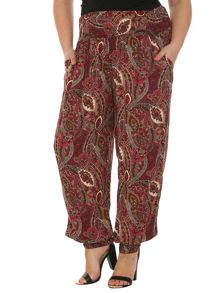 Plus Size Eastern Paisley Print Trousers