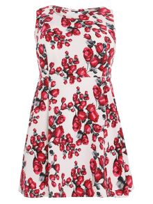 Plus Size Rose Print Mid-Length Dress