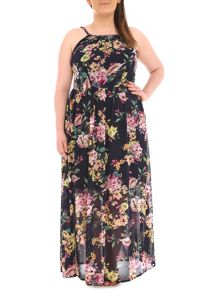 Samya Plus Size Botanical Printed Maxi Dress