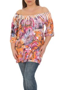 Samya Plus Size Fitted Floral Print Top