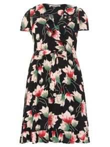 Plus Size Frilled Floral Print Dress