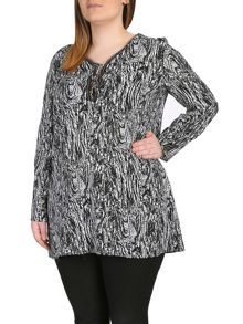 Plus Size Abstract Print Tunic Dress