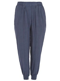 Plus Size Chevron Print Trousers