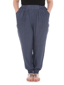 Samya Plus Size Chevron Print Trousers