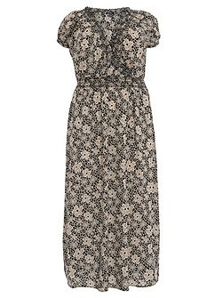 Plus Size Floral Print Maxi Dress