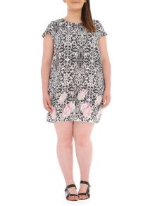 Samya Plus Size Baroque Print Shift Dress