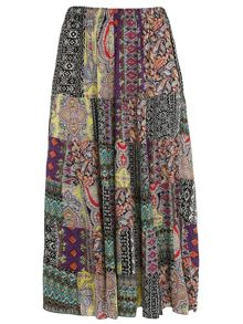 Plus Size Tribal Patchwork Print Skirt