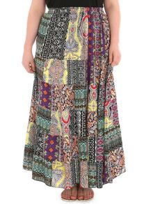 Samya Plus Size Tribal Patchwork Print Skirt