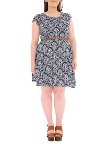 Plus Size Belted Baroque Print Dress
