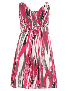 Plus Size Abstract Stripe Print Dress