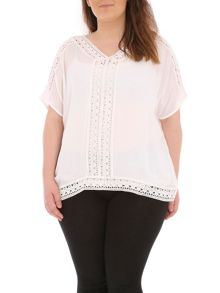 Plus Size Crochet Trim Detail Top