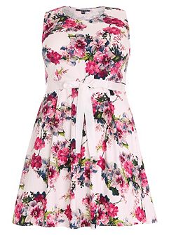 Plus Size Floral Fit and Flare Midi Dress