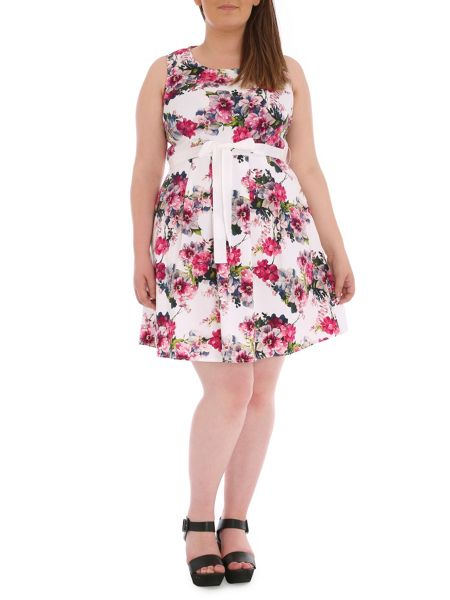 Samya Plus Size Floral Fit and Flare Midi Dress