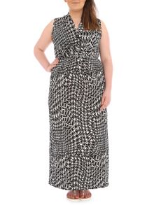 Samya Plus Size Graphic Print Monochrome Maxi Dress
