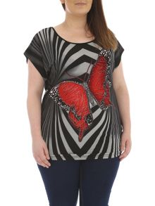 Plus Size Abstract Butterfly Print Top