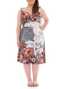 Samya Plus Size Crossover Front Midi Dress