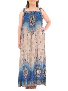 Samya Plus Size Patterened A-Line Maxi Dress