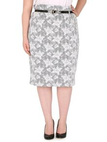 Plus Size Belted Embroidery Detail Skirt