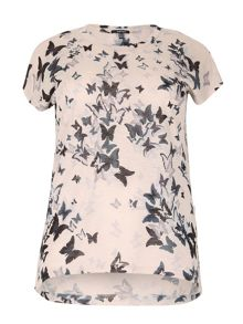 Plus Size Draped Butterfly Print Top