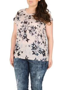 Samya Plus Size Draped Butterfly Print Top