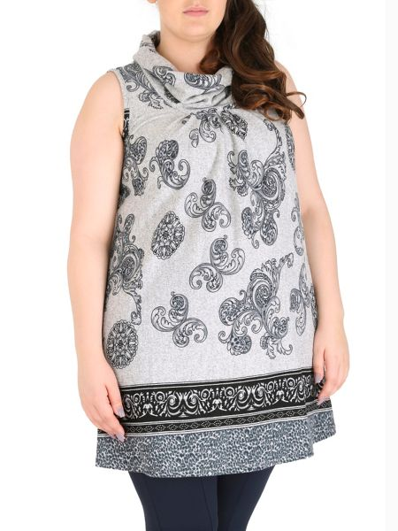 Samya Plus Size Pleated Paisley Print Top
