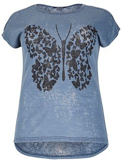 Plus Size Digital Butterfly Print Top