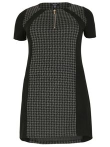 Houndstooth Panel Detail Dress