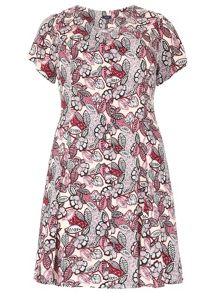 Plus Size Vintage Floral Print Dress