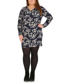 Printed Tunic Dress with Oversized Zip