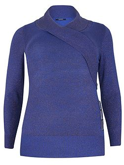 Plus Size Wrap Front Knitted Top