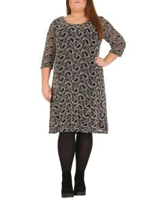 3/4 Sleeve Paisley Lace Overlay Dress
