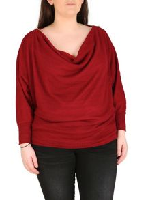 Polyester Elastane Cowl Neck Top