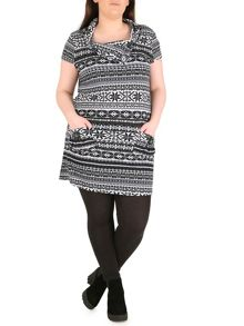 Cap Sleeves Tunic Dress with Folded Neck