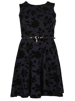 Plus Size Belted Floral Detail Dress