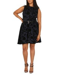 Samya Plus Size Belted Floral Detail Dress