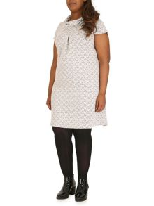 Cap-Sleeved Shift Dress