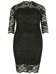 Lace Scallop Hem Midi Dress