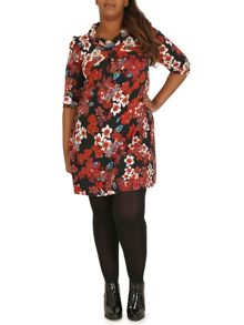 3/4 Sleeve Floral Cowl Neck Dress