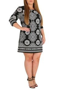 Samya Plus Size Monochrome Batik Print Tunic Dress