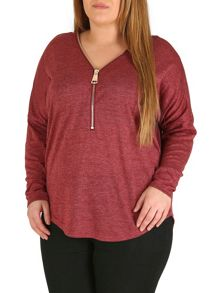 Samya Plus Sized Oversized Zip Front Batwing Top