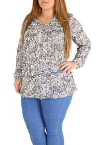 Samya Plus Size Chevron Print Zip Front Top