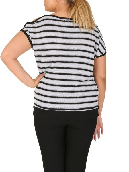 Samya Plus Size Striped Batwing Top