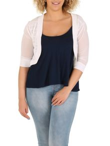 Samya Plus Size Cropped Curved Hem Cardigan