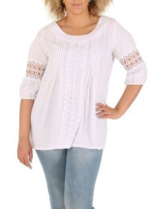 Samya Plus Size Decorative Crochet Detail Top