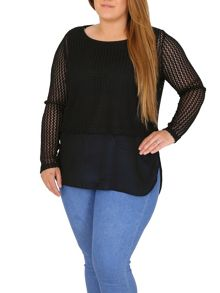 Samya Plus Size Cropped Net Top