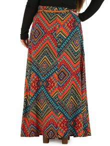 Samya Plus Size Aztec Print Belt Maxi Skirt