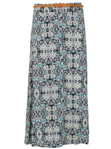 Samya Plus Size Optical Printed Maxi Skirt