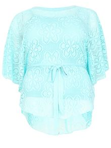 Samya Plus Size Oversized Lace Poncho Top